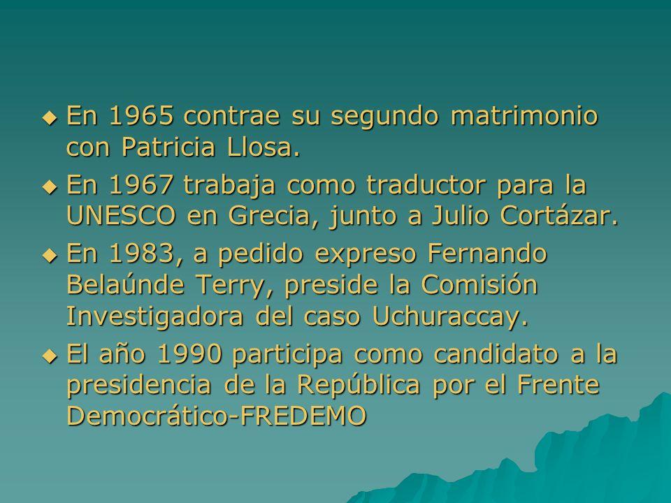 En 1965 contrae su segundo matrimonio con Patricia Llosa.