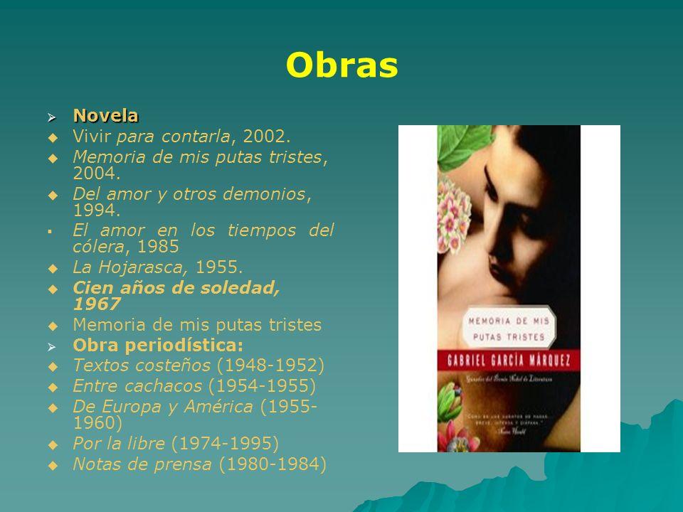 Obras Novela Vivir para contarla, 2002.