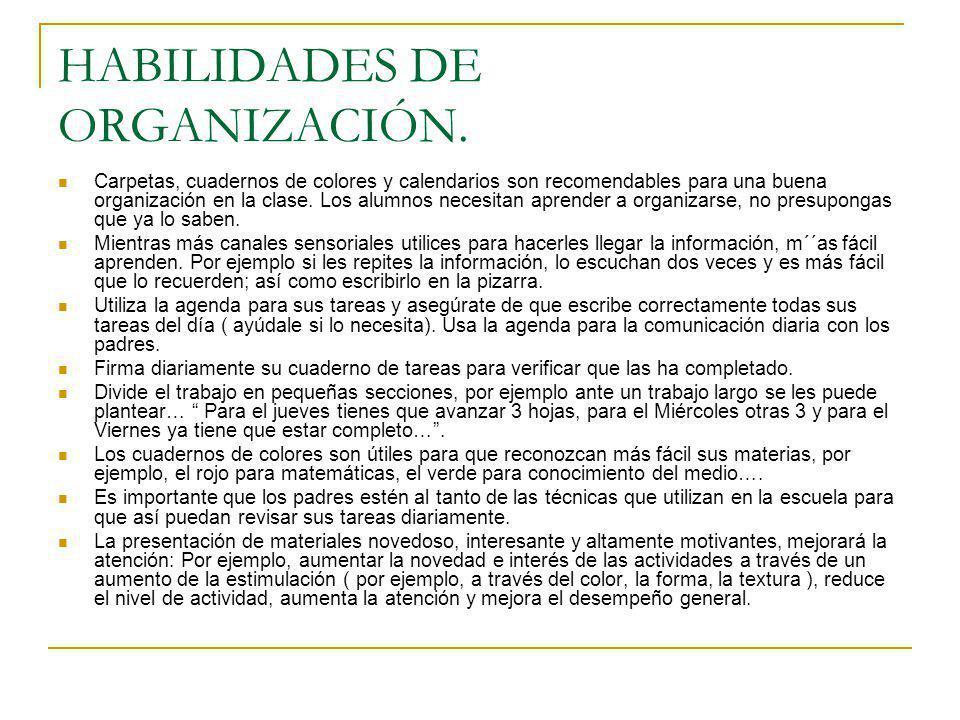 HABILIDADES DE ORGANIZACIÓN.
