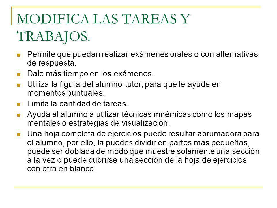 MODIFICA LAS TAREAS Y TRABAJOS.