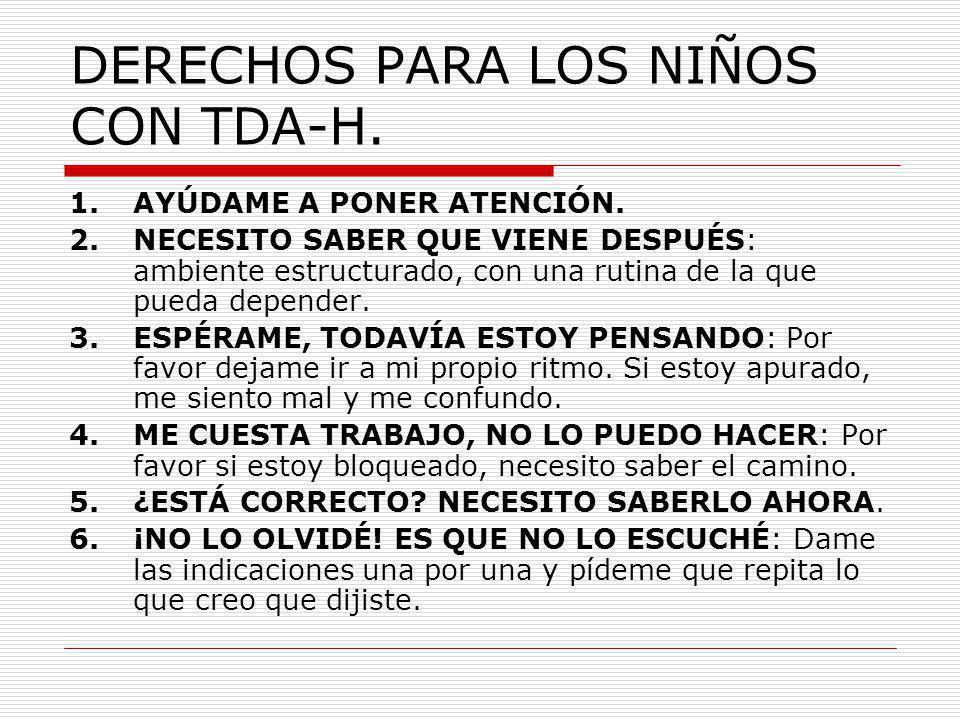 DERECHOS PARA LOS NIÑOS CON TDA-H.