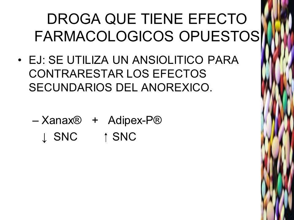 DROGA QUE TIENE EFECTO FARMACOLOGICOS OPUESTOS