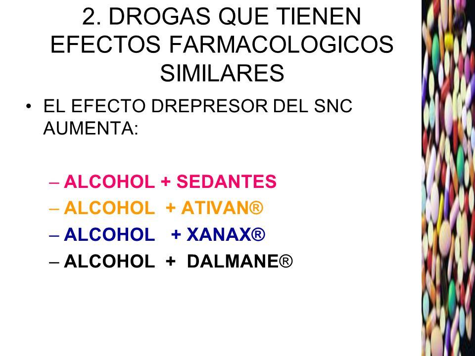 2. DROGAS QUE TIENEN EFECTOS FARMACOLOGICOS SIMILARES
