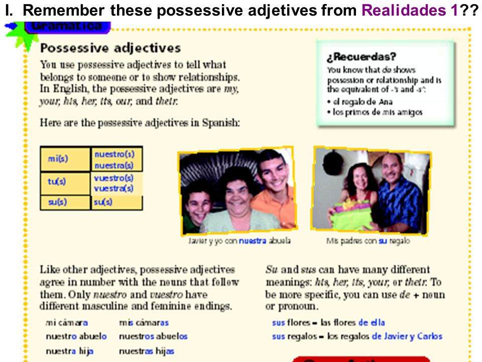 I. Remember these possessive adjetives from Realidades 1