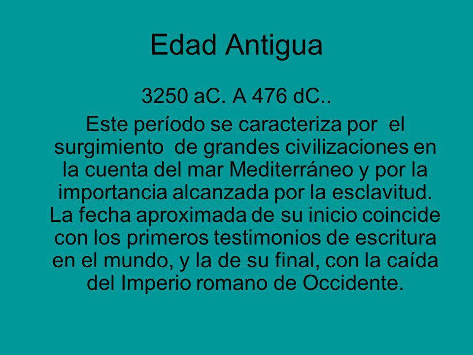 Edad Antigua 3250 aC. A 476 dC..