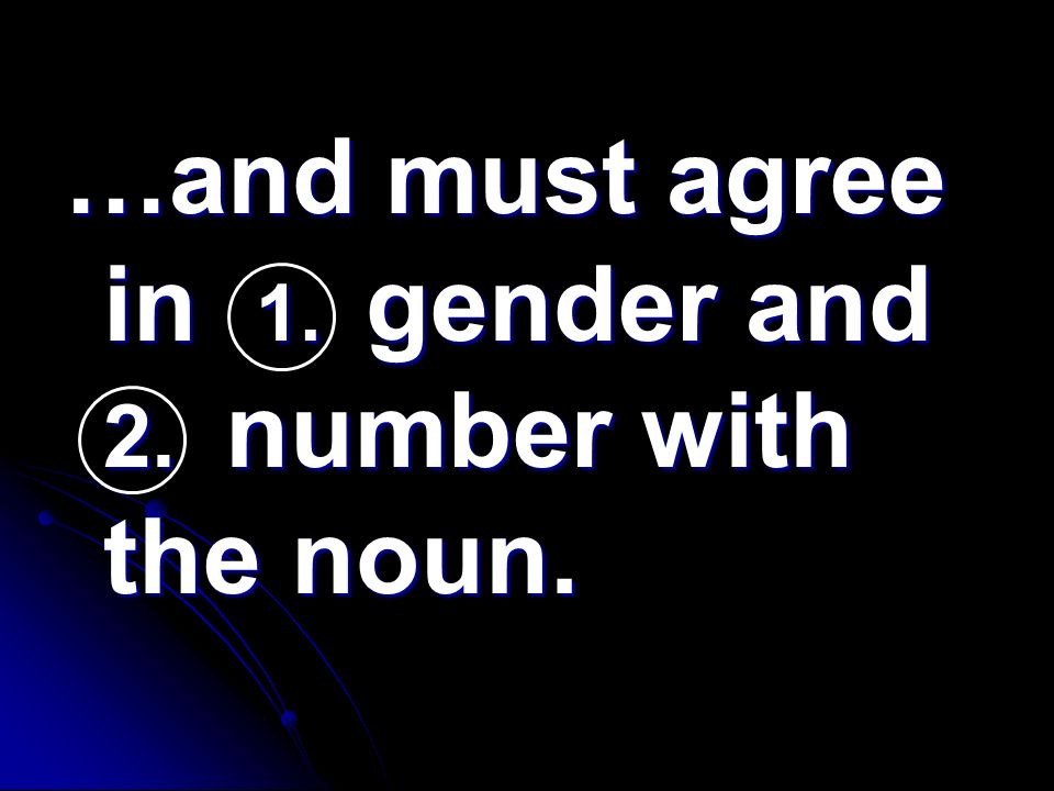 …and must agree in 1. gender and 2. number with the noun.