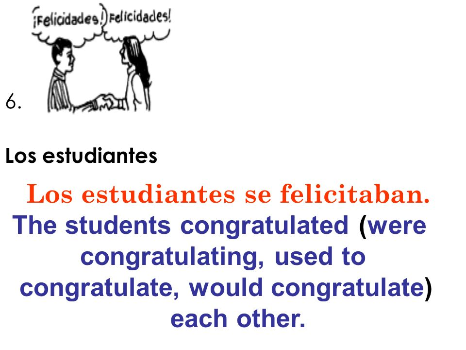 Los estudiantes se felicitaban. The students congratulated (were