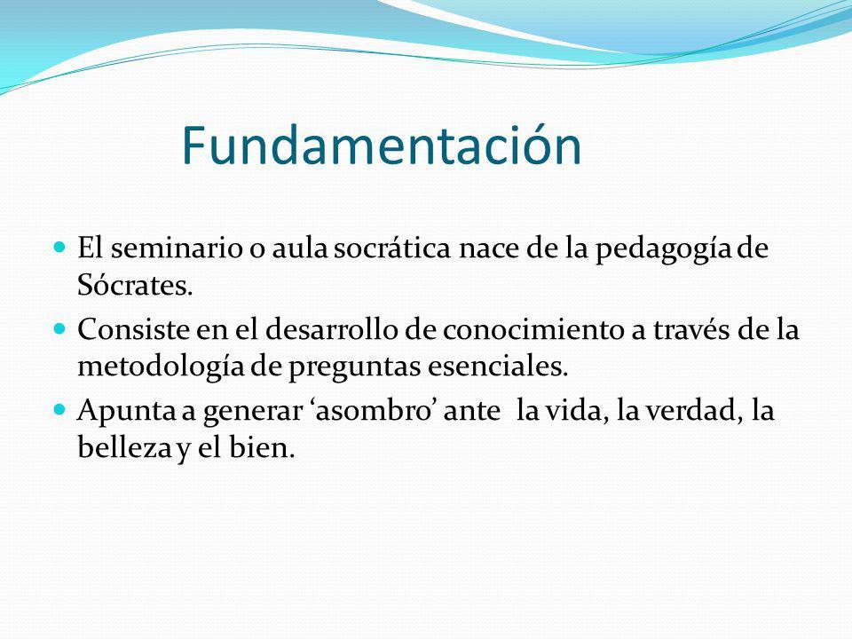 Fundamentación El seminario o aula socrática nace de la pedagogía de Sócrates.