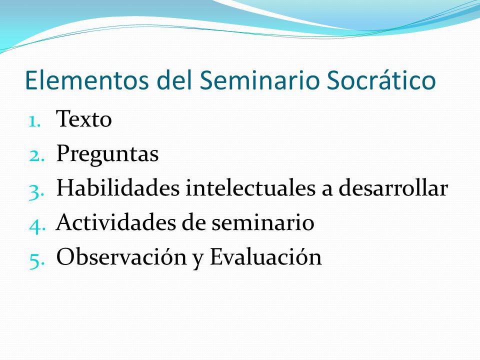 Elementos del Seminario Socrático