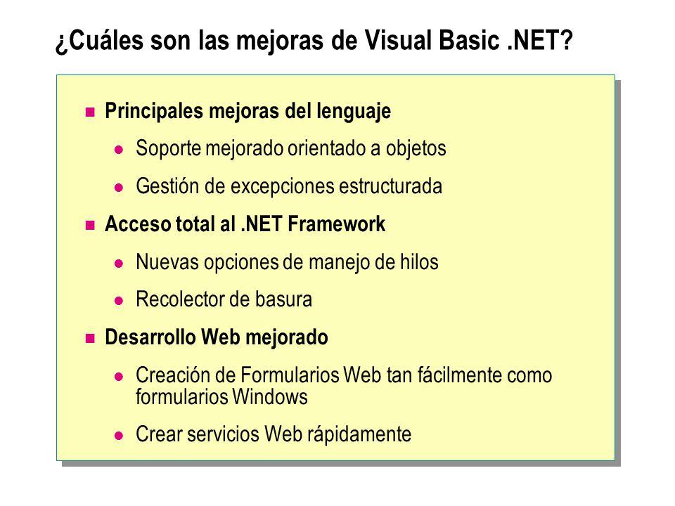 ¿Cuáles son las mejoras de Visual Basic .NET