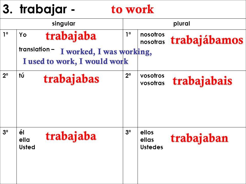 3. trabajar - to work trabajaba trabajábamos trabajabas trabajabais