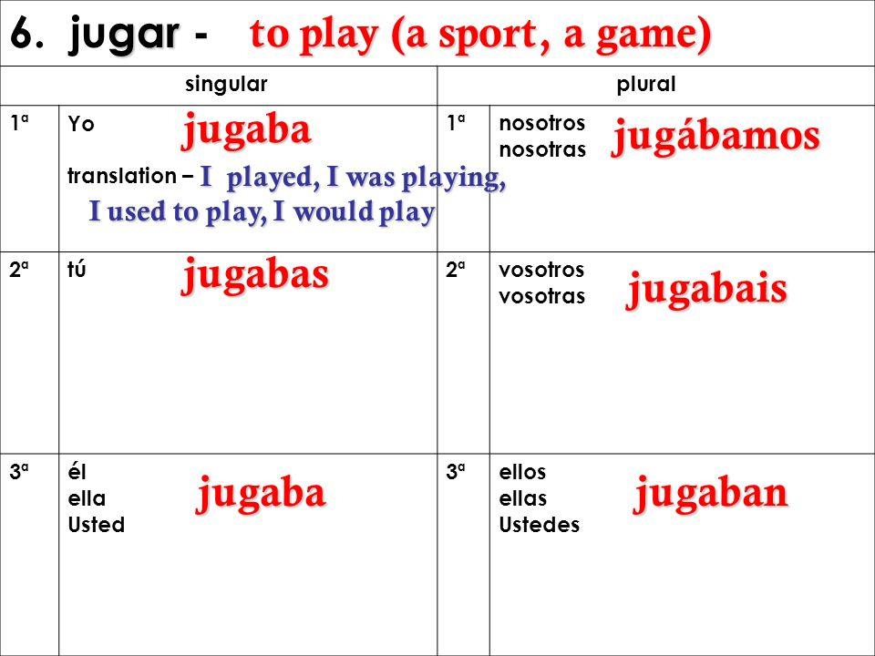 6. jugar - to play (a sport, a game) jugaba jugábamos jugabas jugabais