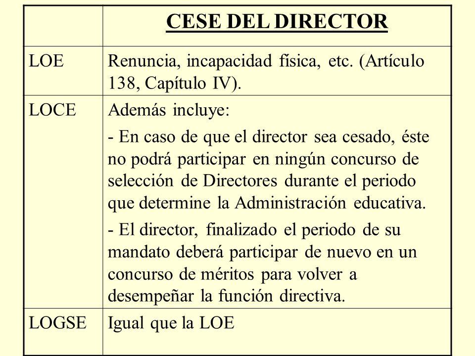 CESE DEL DIRECTOR LOE. Renuncia, incapacidad física, etc. (Artículo 138, Capítulo IV). LOCE. Además incluye: