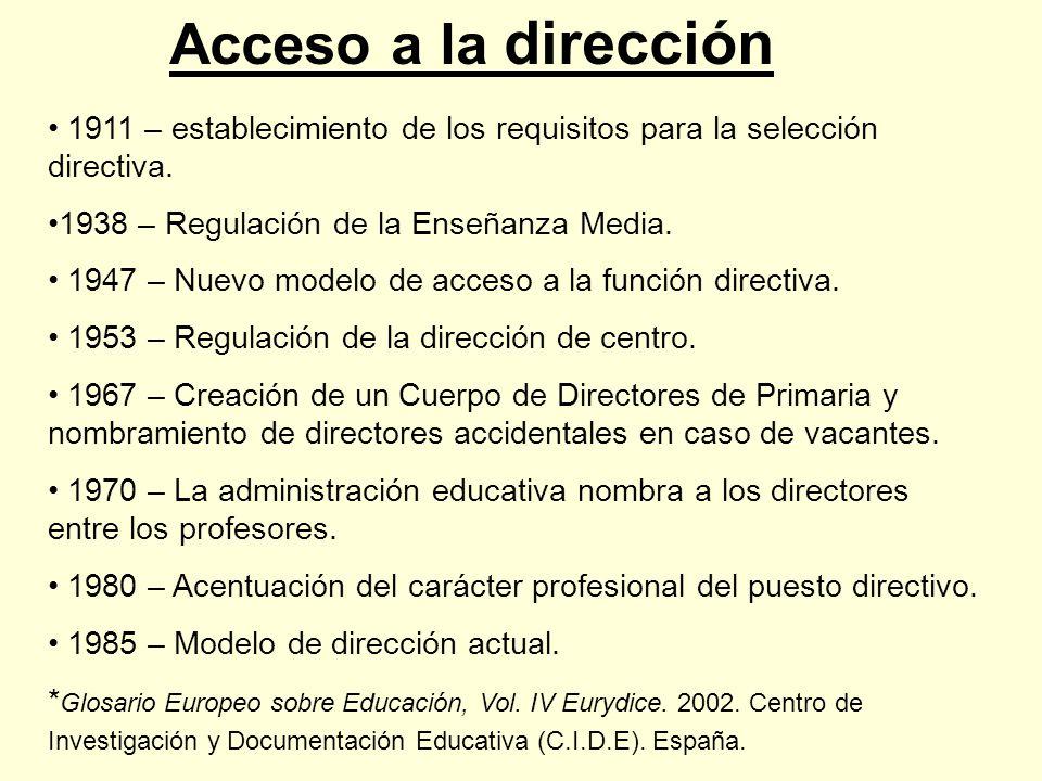 Acceso a la dirección 1911 – establecimiento de los requisitos para la selección directiva. 1938 – Regulación de la Enseñanza Media.