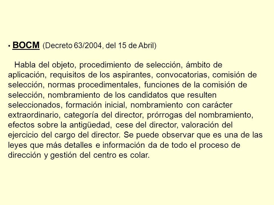 BOCM (Decreto 63/2004, del 15 de Abril)