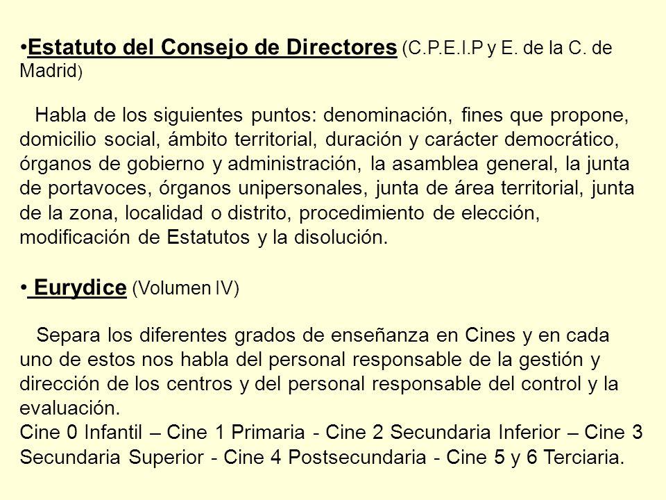 Estatuto del Consejo de Directores (C.P.E.I.P y E. de la C. de Madrid)
