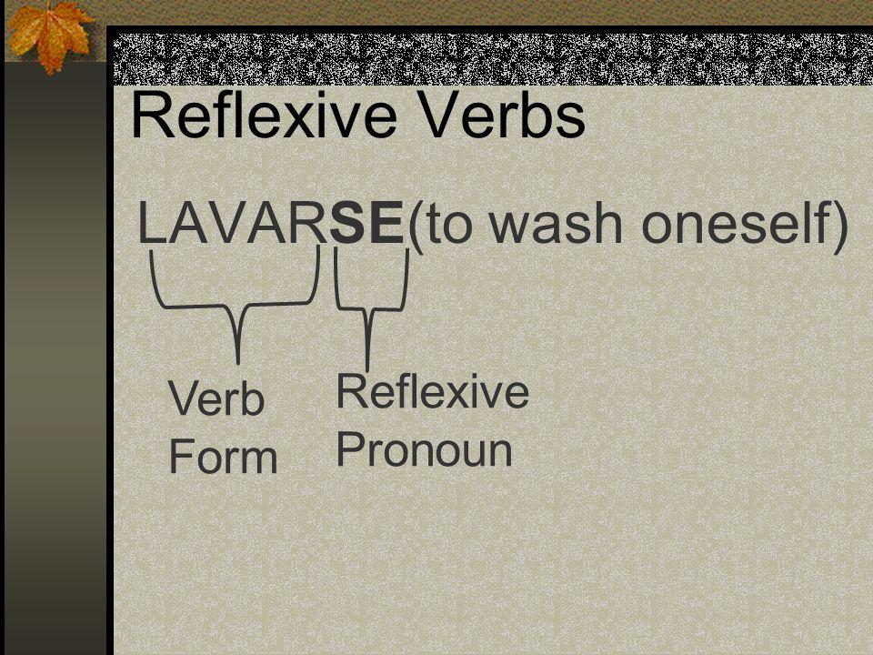 Reflexive Verbs LAVARSE(to wash oneself) Verb Form Reflexive Pronoun