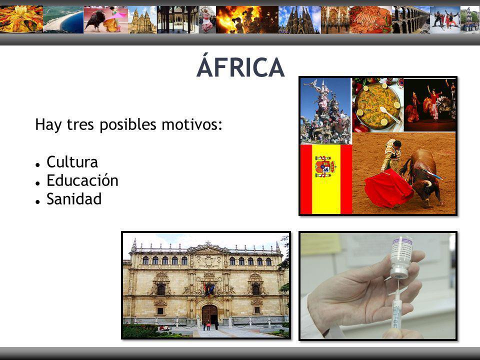 ÁFRICA Hay tres posibles motivos: Cultura Educación Sanidad
