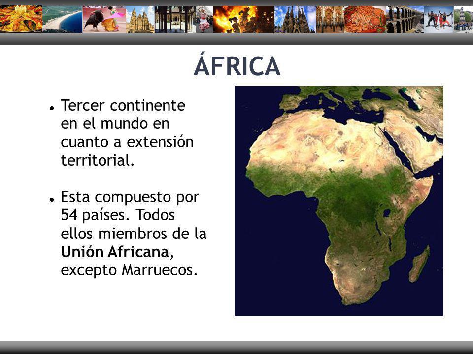 ÁFRICA Tercer continente en el mundo en cuanto a extensión territorial.