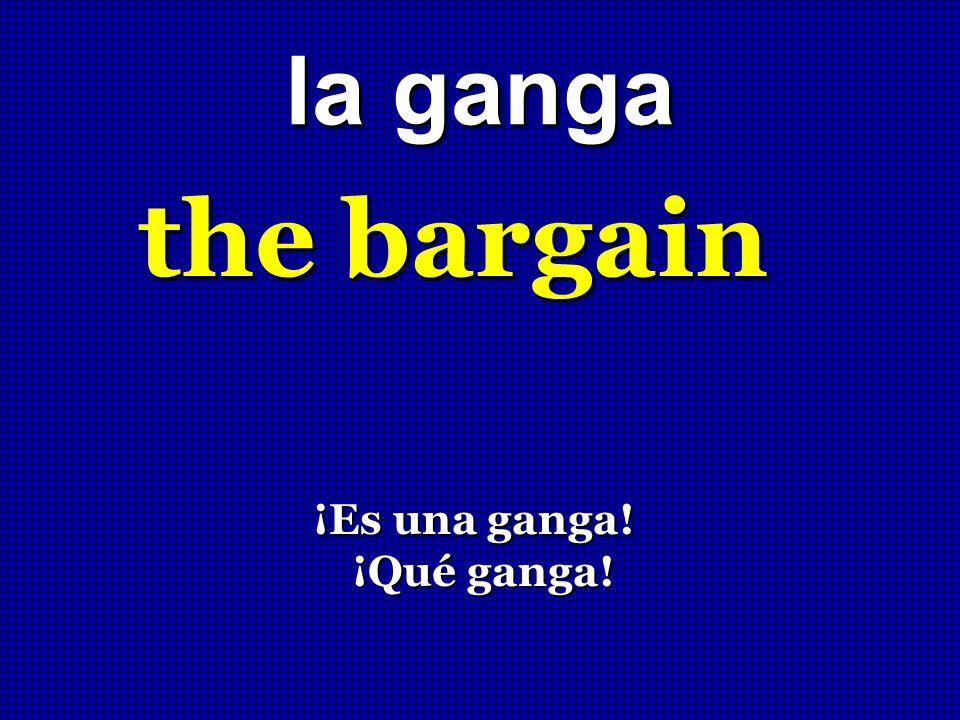 la ganga the bargain ¡Es una ganga! ¡Qué ganga!