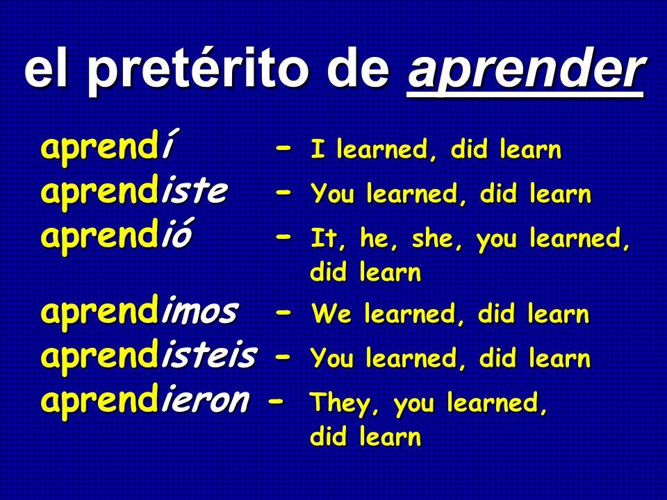 el pretérito de aprender