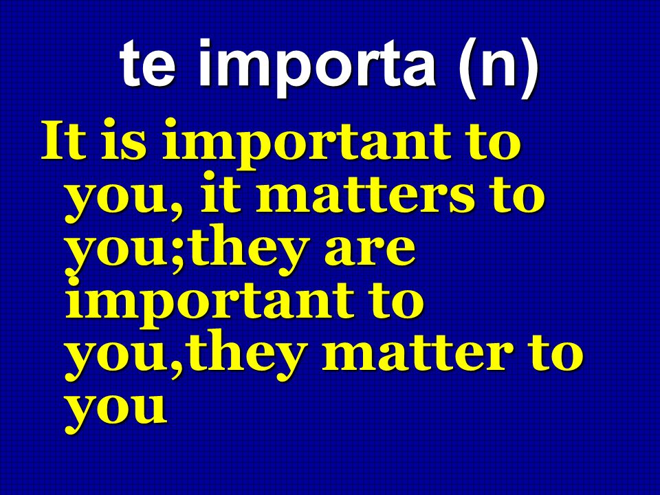 te importa (n) It is important to you, it matters to you;they are important to you,they matter to you.