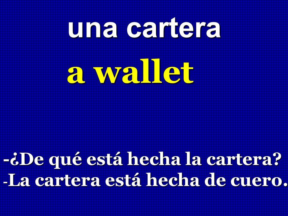 a wallet una cartera -¿De qué está hecha la cartera