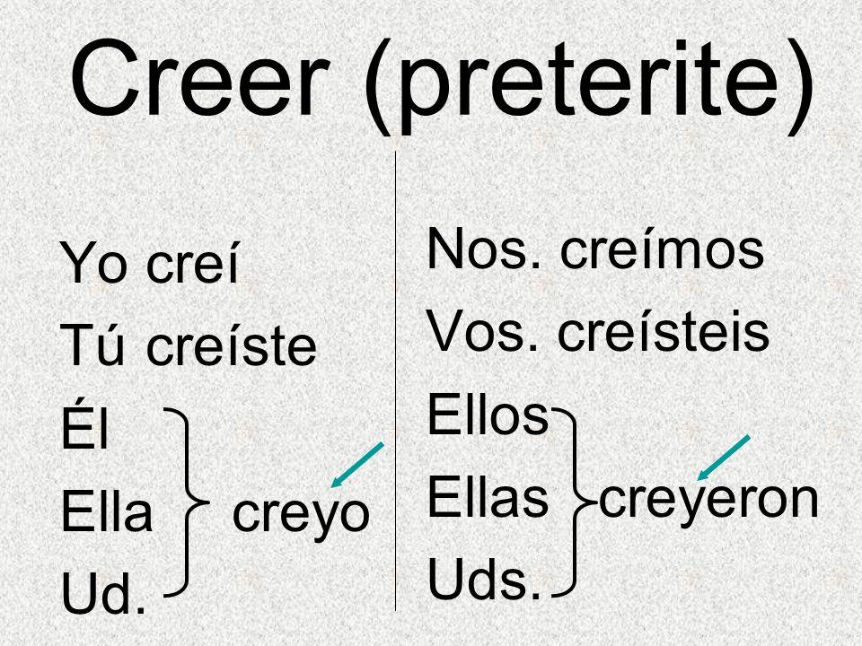 Creer (preterite) Nos. creímos Yo creí Vos. creísteis Tú creíste Ellos