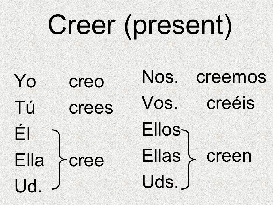 Creer (present) Nos. creemos Yo creo Vos. creéis Tú crees Ellos Él