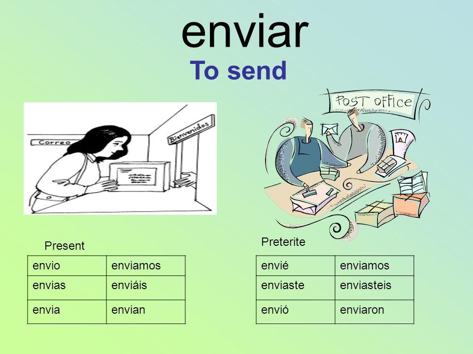 enviar To send Preterite Present envio enviamos envias enviáis envia
