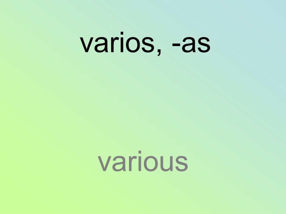 varios, -as various