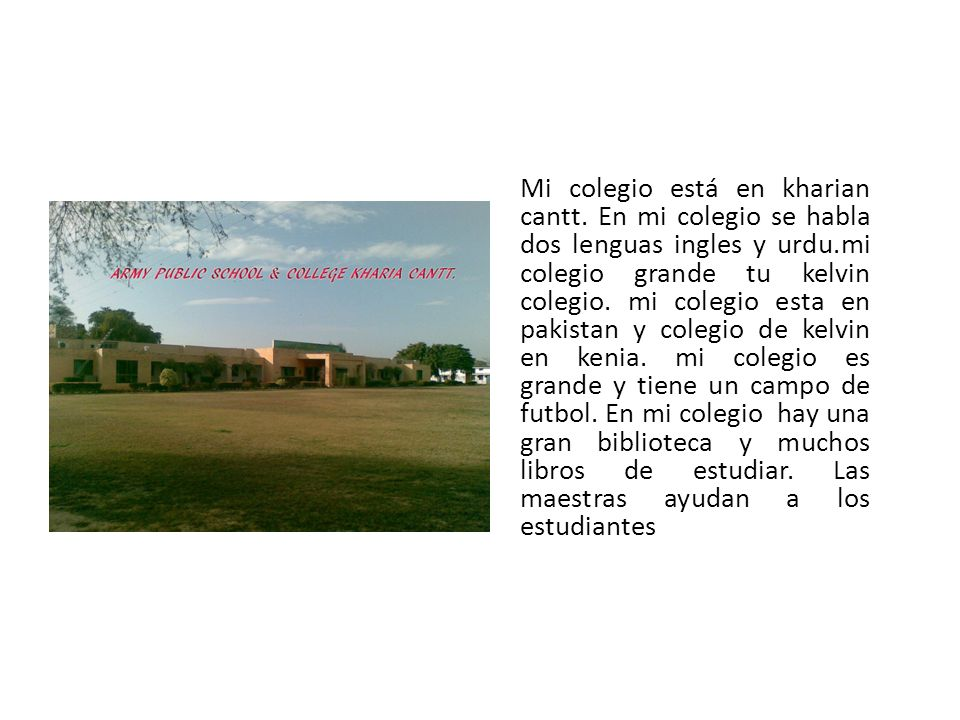Mi colegio está en kharian cantt