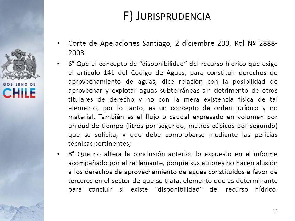 F) Jurisprudencia Corte de Apelaciones Santiago, 2 diciembre 200, Rol Nº 2888-2008.