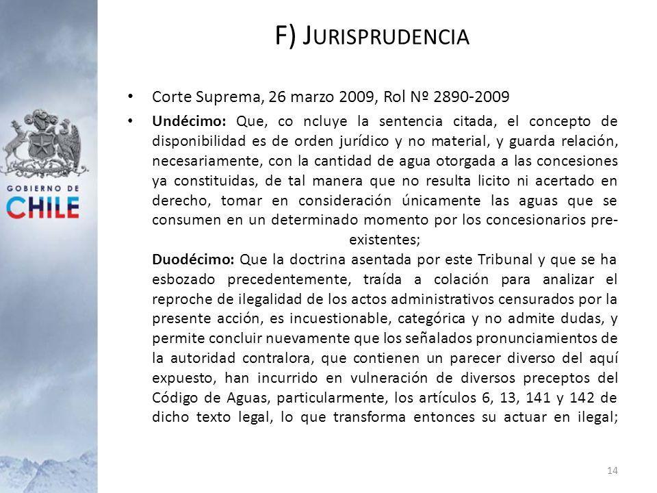 F) Jurisprudencia Corte Suprema, 26 marzo 2009, Rol Nº 2890-2009