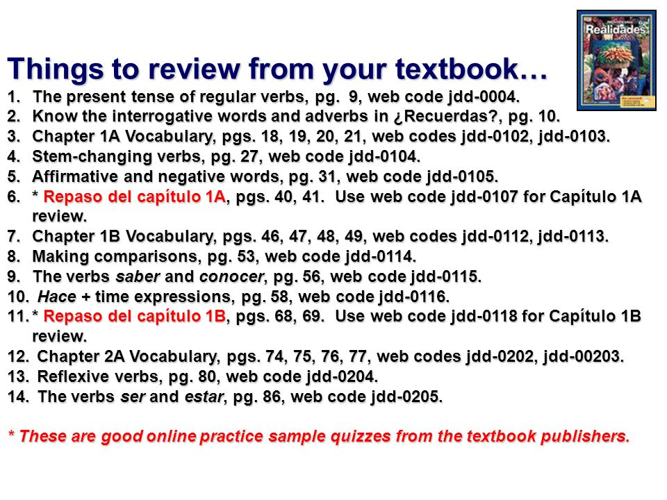 Things to review from your textbook…