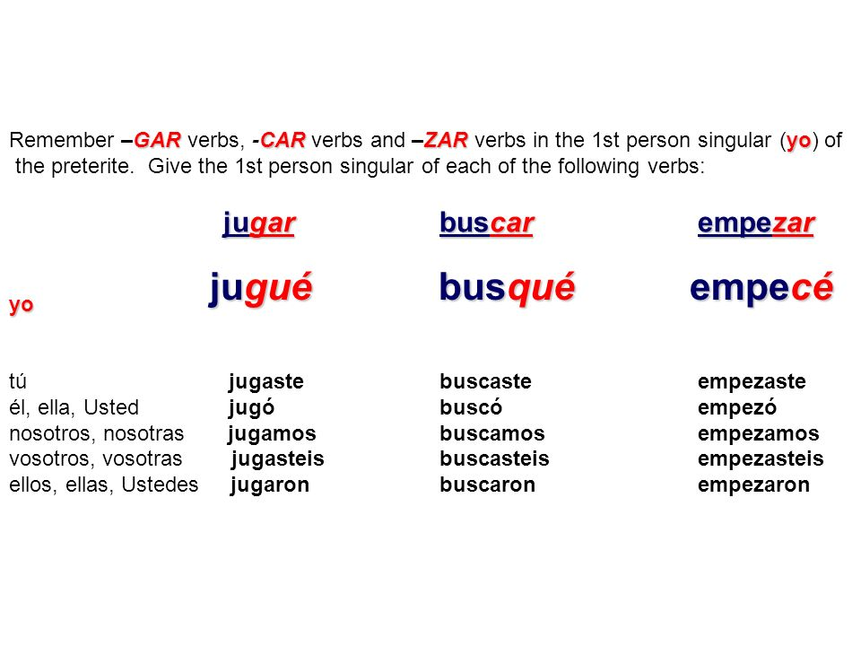 Remember –GAR verbs, -CAR verbs and –ZAR verbs in the 1st person singular (yo) of