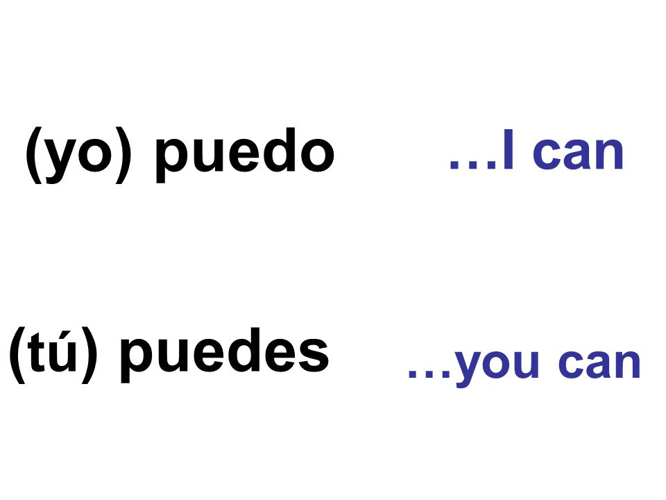 (yo) puedo …I can (tú) puedes …you can