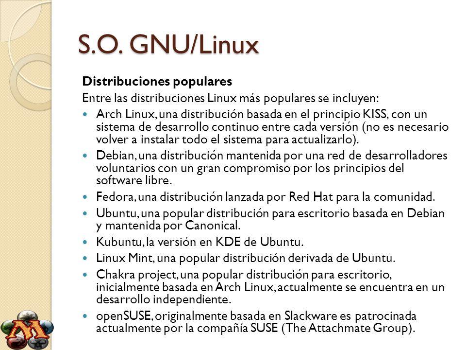 S.O. GNU/Linux Distribuciones populares