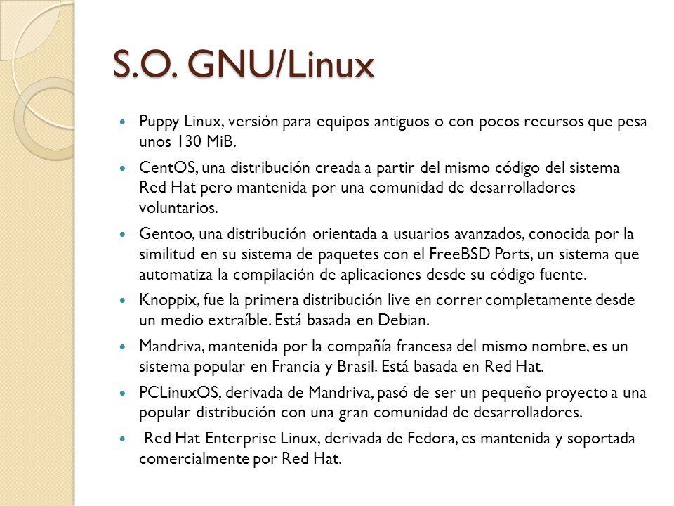 S.O. GNU/Linux Puppy Linux, versión para equipos antiguos o con pocos recursos que pesa unos 130 MiB.