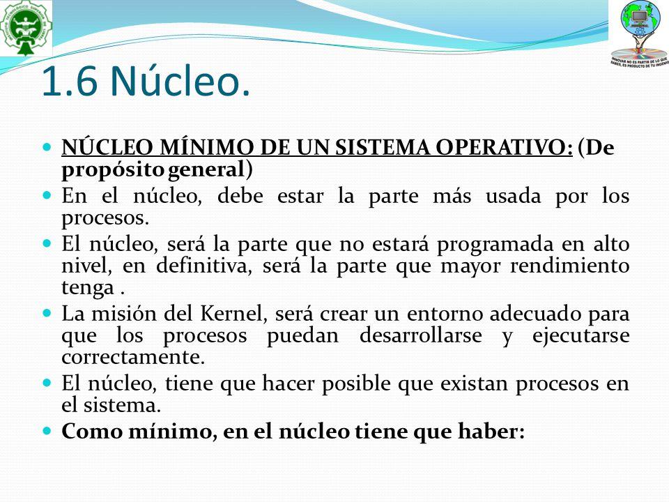 1.6 Núcleo. NÚCLEO MÍNIMO DE UN SISTEMA OPERATIVO: (De propósito general) En el núcleo, debe estar la parte más usada por los procesos.