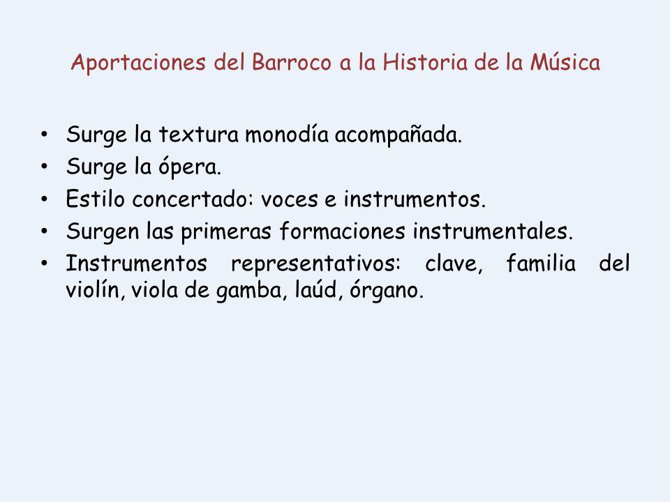Aportaciones del Barroco a la Historia de la Música