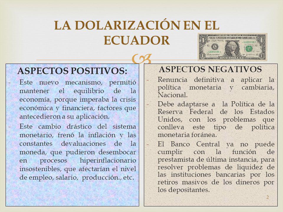 LA DOLARIZACIÓN EN EL ECUADOR