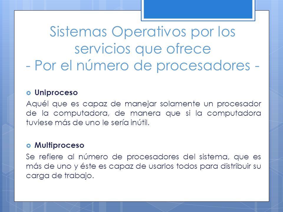 Sistemas Operativos por los servicios que ofrece - Por el número de procesadores -