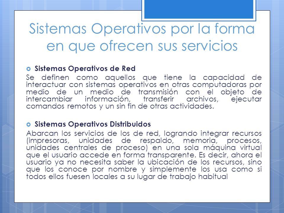 Sistemas Operativos por la forma en que ofrecen sus servicios