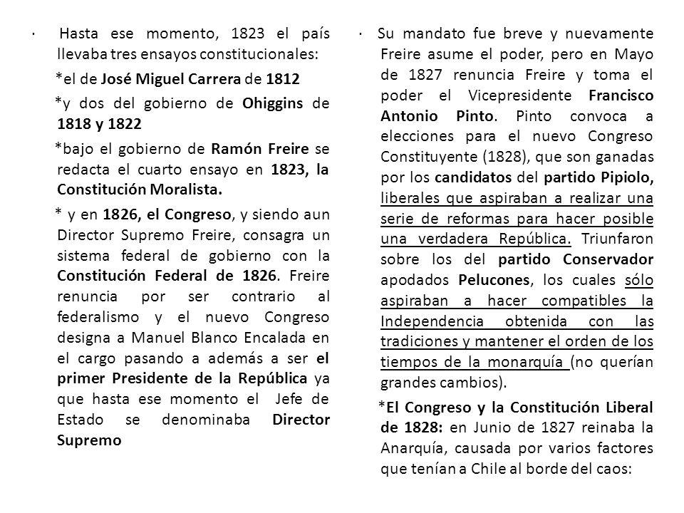 · Hasta ese momento, 1823 el país llevaba tres ensayos constitucionales: