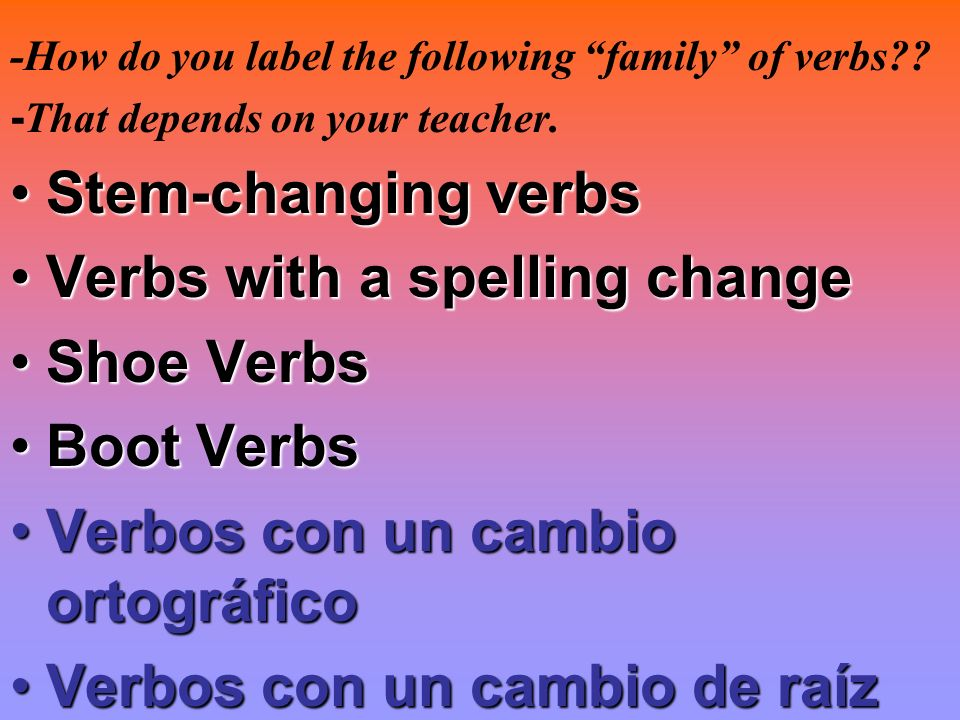 Verbs with a spelling change Shoe Verbs Boot Verbs