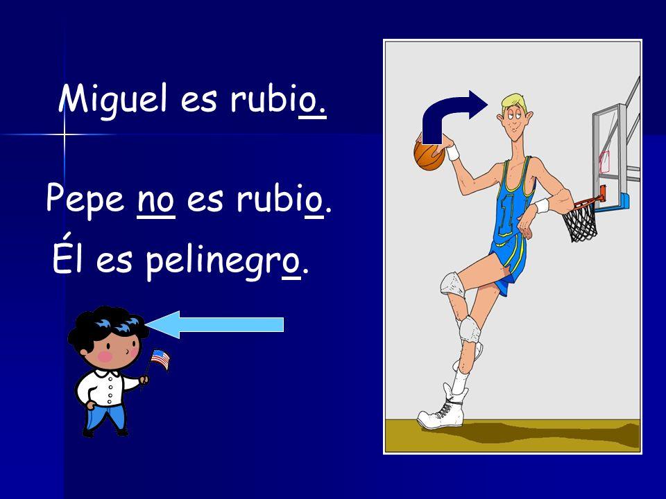 Miguel es rubio. Pepe no es rubio. Él es pelinegro.