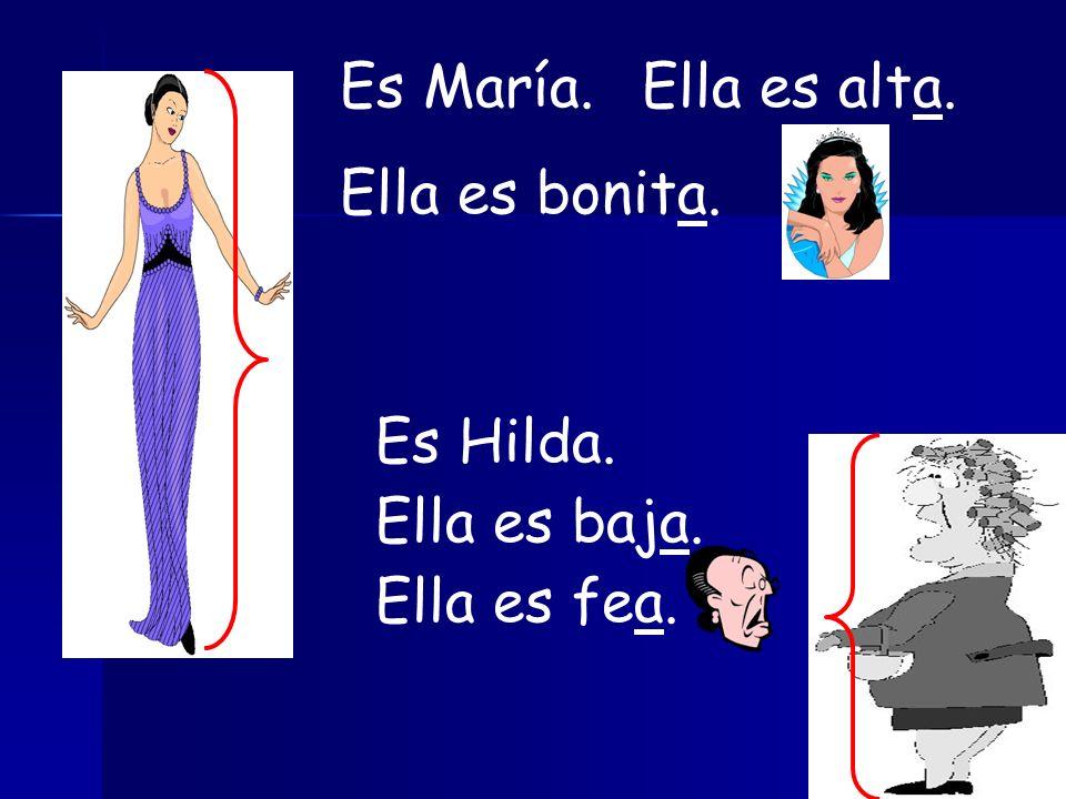 Es María. Ella es alta. Ella es bonita. Es Hilda. Ella es baja. Ella es fea.