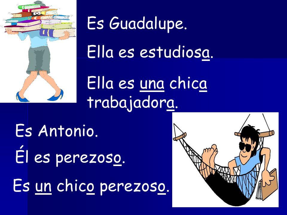 Es Guadalupe. Ella es estudiosa. Ella es una chica trabajadora.