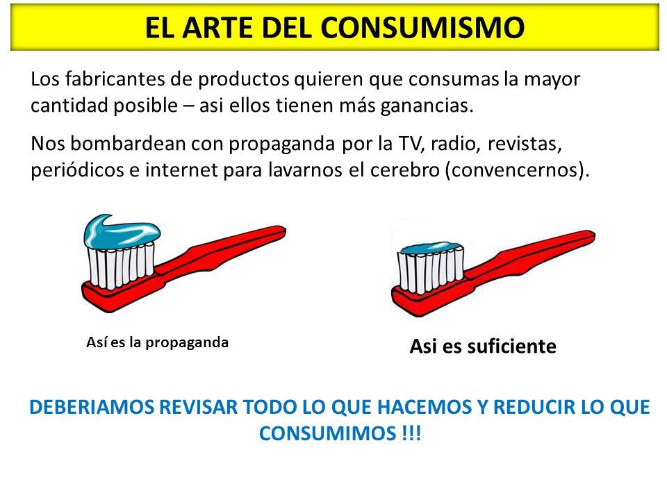 DEBERIAMOS REVISAR TODO LO QUE HACEMOS Y REDUCIR LO QUE CONSUMIMOS !!!
